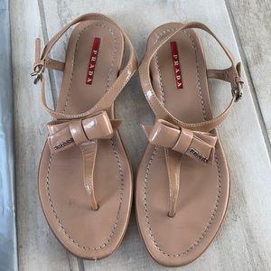 Prada Bow Flat Nude Patent Sandal